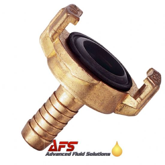 Brass Geka Type Claw Lock Coupling x Hose Tail Fitting
